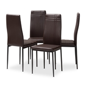 Baxton Studio Matiese Modern and Contemporary Brown Faux Leather Upholstered Dining Chair (Set of 4) Baxton Studio restaurant furniture, hotel furniture, commercial furniture, wholesale dining furniture, wholesale chair, classic dining chairs