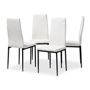 Baxton Studio Matiese Modern and Contemporary White Faux Leather Upholstered Dining Chair (Set of 4) Baxton Studio restaurant furniture, hotel furniture, commercial furniture, wholesale dining furniture, wholesale chair, classic dining chairs