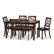 Baxton Studio Mozaika Wood and Leather Contemporary 7-Piece Dining Set  Mozaika Wood and Leather Contemporary 7-Piece Dining Set, PCH305SQ (S3)/PCH 6339-DC(6), compare  Mozaika Wood and Leather Contemporary 7-Piece Dining Set, best price on  Mozaika Wood and Leather Contemporary 7-Piece Dining Set, discount  Mozaika Wood and Leather Contemporary 7-Piece Dining Set, cheap  Mozaika Wood and Leather Contemporary 7-Piece Dining Set