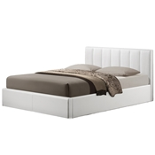Baxton Studio Templemore White Leather Contemporary Queen-Size Bed Baxton StudioTemplemore White Leather Contemporary Queen-Size Bed, FurnitureBedroom Furniture