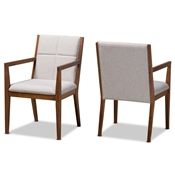 Baxton Studio Theresa Mid-Century Modern Greyish Beige Fabric Upholstered and Walnut Brown Finished Wood Living Room Accent Chair (Set of 2) Baxton Studio restaurant furniture, hotel furniture, commercial furniture, wholesale living room furniture, wholesale coffee table, classic coffee table