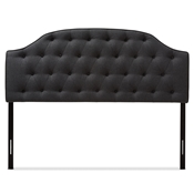 Baxton Studio Windsor Modern and Contemporary Dark Grey Fabric Upholstered Scalloped Buttoned Queen Size Headboard Baxton Studio restaurant furniture, hotel furniture, commercial furniture, wholesale bedroom furniture, wholesale headboards, classic queen bed