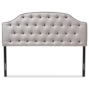 Baxton Studio Windsor Modern and Contemporary Greyish Beige Fabric Upholstered Scalloped Buttoned Queen Size Headboard Baxton Studio restaurant furniture, hotel furniture, commercial furniture, wholesale bedroom furniture, wholesale headboards, classic queen bed