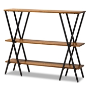 Baxton Studio Norton Rustic and Industrial Walnut Brown Finished Wood and Black Finished Metal Console Table Baxton Studio restaurant furniture, hotel furniture, commercial furniture, wholesale living room furniture, wholesale console table, classic console table