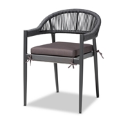 Baxton Studio Wendell Modern and Contemporary Grey Finished Rope and Metal Outdoor Dining Chair