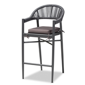 Baxton Studio Wendell Modern and Contemporary Grey Finished Rope and Metal Outdoor Bar Stool