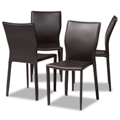 Baxton Studio Heidi Modern and Contemporary Dark Brown Faux Leather Upholstered 4-Piece Dining Chair Set