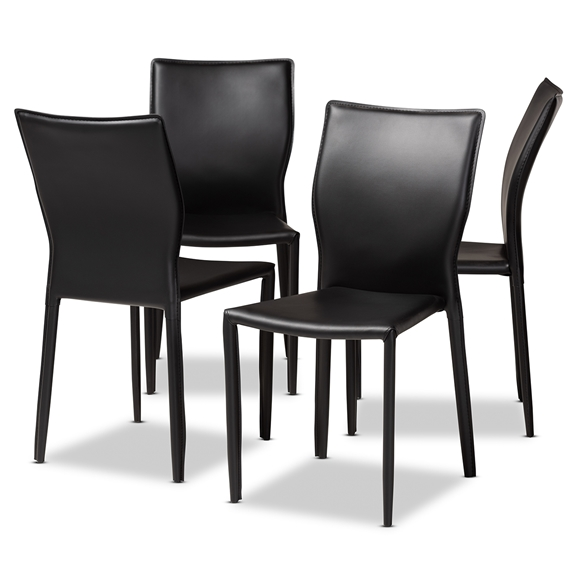 Baxton Studio Heidi Modern and Contemporary Black Faux Leather Upholstered 4-Piece Dining Chair Set