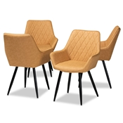 Baxton Studio Astrid Mid-Century Contemporary Tan Faux Leather Upholstered and Black Metal 4-Piece Dining Chair Set