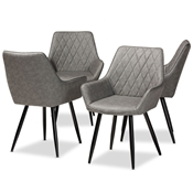 Baxton Studio Astrid Mid-Century Contemporary Grey Faux Leather Upholstered and Black Metal 4-Piece Dining Chair Set