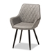 Baxton Studio Astrid Mid-Century Contemporary Grey Faux Leather Upholstered and Black Metal 4-Piece Dining Chair Set - IE19A09-Grey/Black-DC