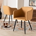 Baxton Studio Eris Mid-Century Contemporary Tan Faux Leather Upholstered and Black Metal 2-Piece Dining Chair Set - IEA333-Tan/Black-DC