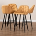 Baxton Studio Catherine Modern and Contemporary Tan Faux Leather Upholstered and Black Metal 4-Piece Bar Stool Set - IEBA-9-Tan/Black-BS