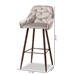 Baxton Studio Catherine Modern and Contemporary Grey Velvet Fabric Upholstered and Walnut Finished 4-Piece Bar Stool Set - IEBA-9-Grey/Walnut-BS