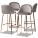 Baxton Studio Addie Luxe and Glam Grey Velvet Fabric Upholstered and Rose Gold Finished 4-Piece Bar Stool Set
