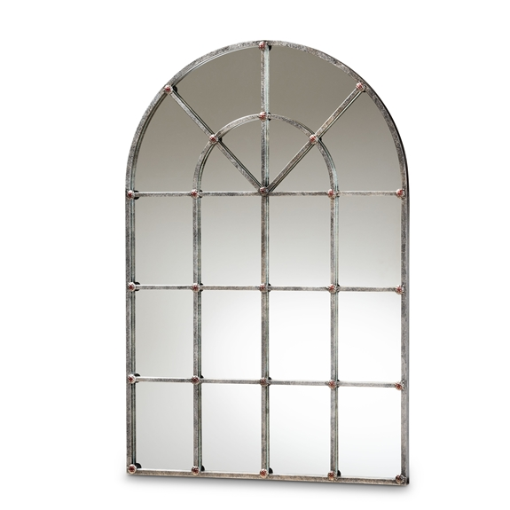 Baxton Studio Newman Vintage Farmhouse Antique Silver Finished Arched Window Accent Wall Mirror