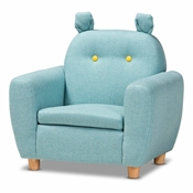 Baxton Studio Gloria Modern and Contemporary Sky Blue Fabric Upholstered Kids Armchair with Animal Ears