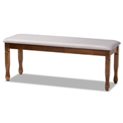 Baxton Studio Corey Modern and Contemporary Grey Fabric Upholstered and Walnut Brown Finished Wood Dining Bench
