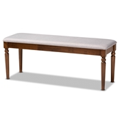 Baxton Studio Giovanni Modern and Contemporary Grey Fabric Upholstered and Walnut Brown Finished Wood Dining Bench