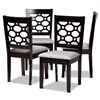 Baxton Studio Peter Modern and Contemporary Grey Fabric Upholstered and Dark Brown Finished Wood 4-Piece Dining Chair Set Baxton Studio restaurant furniture, hotel furniture, commercial furniture, wholesale dining room furniture, wholesale dining chairs, classic dining chairs