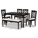 Baxton Studio Gabriel Modern and Contemporary Grey Fabric Upholstered and Dark Brown Finished Wood 6-Piece Dining Set - IERH335C-Grey/Dark Brown-6PC Dining Set