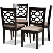 Baxton Studio Peter Modern and Contemporary Sand Fabric Upholstered and Dark Brown Finished Wood 4-Piece Dining Chair Set