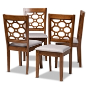 Baxton Studio Peter Modern and Contemporary Grey Fabric Upholstered and Walnut Brown Finished Wood 4-Piece Dining Chair Set