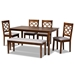 Baxton Studio Gabriel Modern and Contemporary Grey Fabric Upholstered and Walnut Brown Finished Wood 6-Piece Dining Set - IERH335C-Grey/Walnut-6PC Dining Set