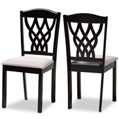 Baxton Studio Delilah Modern and Contemporary Grey Fabric Upholstered and Dark Brown Finished Wood 2-Piece Dining Chair Set