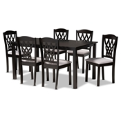 Baxton Studio Salem Modern and Contemporary Grey Fabric Upholstered and Dark Brown Finished Wood 7-Piece Dining Set