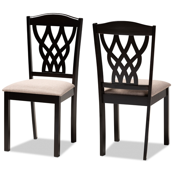 Baxton Studio Delilah Modern and Contemporary Sand Fabric Upholstered and Dark Brown Finished Wood 2-Piece Dining Chair Set