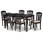 Baxton Studio Salem Modern and Contemporary Sand Fabric Upholstered and Dark Brown Finished Wood 7-Piece Dining Set