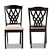 Baxton Studio Delilah Modern and Contemporary Sand Fabric Upholstered and Dark Brown Finished Wood 2-Piece Dining Chair Set - IERH1017C-Sand/Dark Brown-DC-2PK