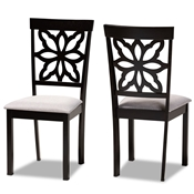 Baxton Studio Samwell Modern and Contemporary Grey Fabric Upholstered and Dark Brown Finished Wood 2-Piece Dining Chair Set