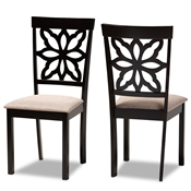 Baxton Studio Samwell Modern and Contemporary Sand Fabric Upholstered and Dark Brown Finished Wood 2-Piece Dining Chair Set