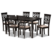 Baxton Studio Dallas Modern and Contemporary Sand Fabric Upholstered and Dark Brown Finished Wood 7-Piece Dining Set