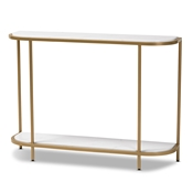 Baxton Studio Dominic Modern and Contemporary Gold Metal Console Table with Faux Marble Tabletop Baxton Studio restaurant furniture, hotel furniture, commercial furniture, wholesale living room furniture, wholesale console table, classic console table