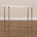 Baxton Studio Samuel Modern and Contemporary Gold Finished Metal Console Table With Faux Marble Tabletop - IEWS-12220-Console