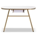 Baxton Studio Mabel Modern and Contemporary Gold Finished Metal Console Table With Faux Marble Tabletop - IEWS-12221-Console