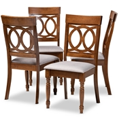 Baxton Studio Lucie Modern and Contemporary Grey Fabric Upholstered and Walnut Brown Finished Wood 4-Piece Dining Chair Set