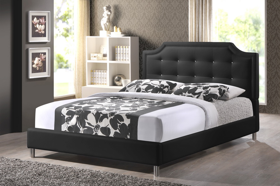 Baxton Studio Carlotta Black Modern Bed With Upholstered Headboard Queen Size Iebbt6376