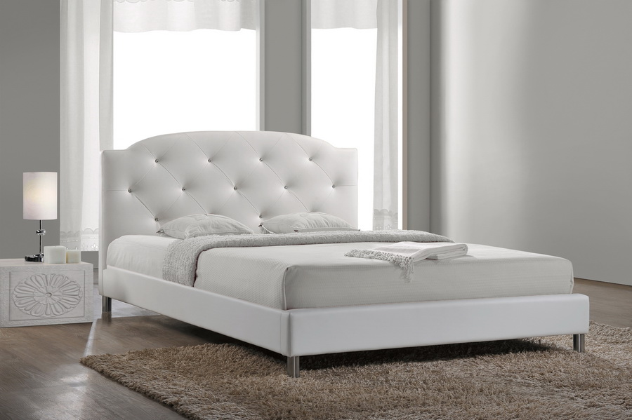 Baxton Studiocanterbury White Leather Contemporary Queen
