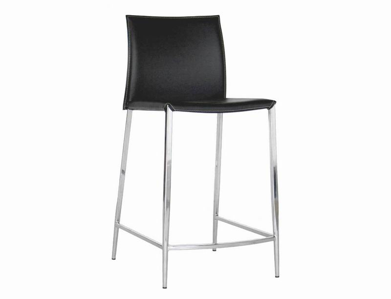 Bar stool-Counter Stool- New York Black Leather Set of  2
