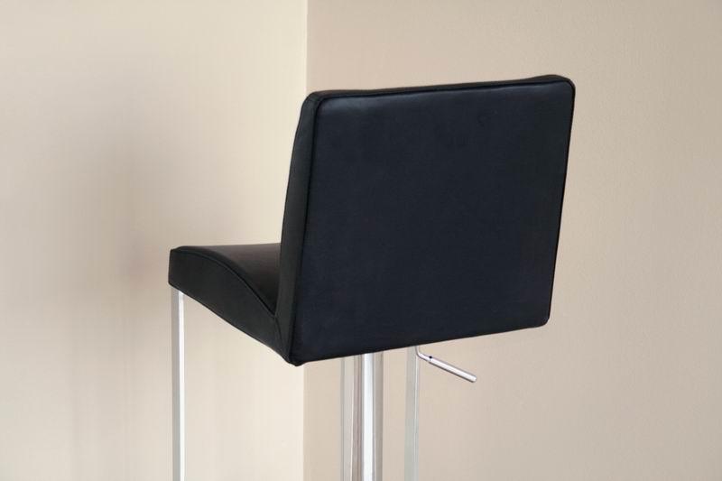 Dallas Black Leather Adjustable Swivel Bar Stool