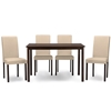 Baxton Studio Andrew Contemporary Espresso Wood Beige Fabric 5 PC Dining Set Baxton Studio restaurant furniture, hotel furniture, commercial furniture, wholesale dining room furniture, wholesale dining sets, classic 5-piece sets