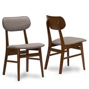 Baxton Studio Sacramento Mid-Century Dark Walnut Wood Grey Fabric  Dining Chair Baxton Studio restaurant furniture, hotel furniture, commercial furniture, wholesale dining room furniture, wholesale chairs, classic dining chairs