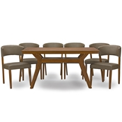 Baxton Studio Montreal Mid-Century Dark Walnut Wood 7PC Dining Set Baxton Studio restaurant furniture, hotel furniture, commercial furniture, wholesale dining room furniture, wholesale dining sets, classic 7-piece sets