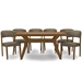 Baxton Studio Montreal Mid-Century Dark Walnut Wood 7PC Dining Set
