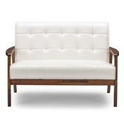 Baxton Studio Baxton Studio Mid-Century Masterpieces Loveseat - White Baxton Studio restaurant furniture, hotel furniture, commercial furniture, wholesale living room furniture, wholesale sofas & loveseats, classic loveseats,