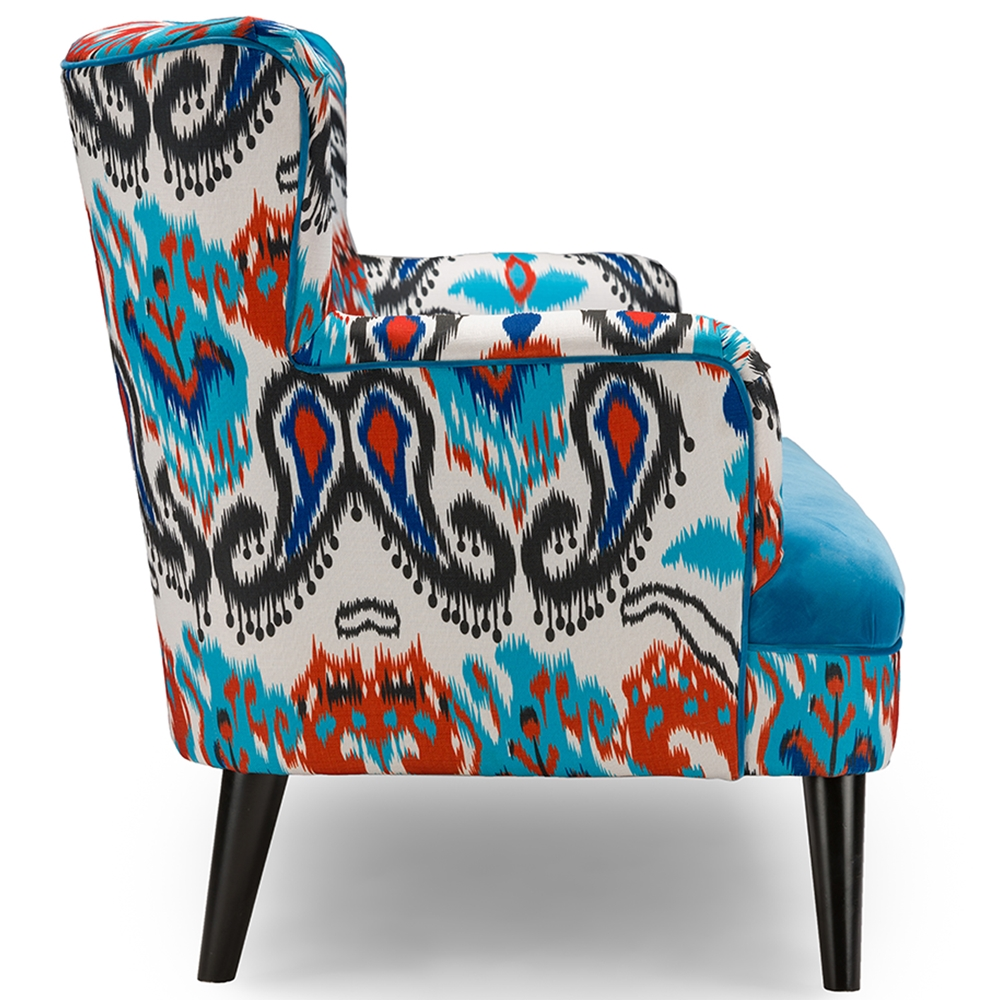 Room accent chairs with ottomans red accent chair with ottoman - Baxton Studio Lacey Paisley Ikat Sofa With Blue Velvet